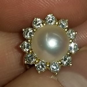 18k Authentic Mikimoto Earrings 2 TCW Diamonds